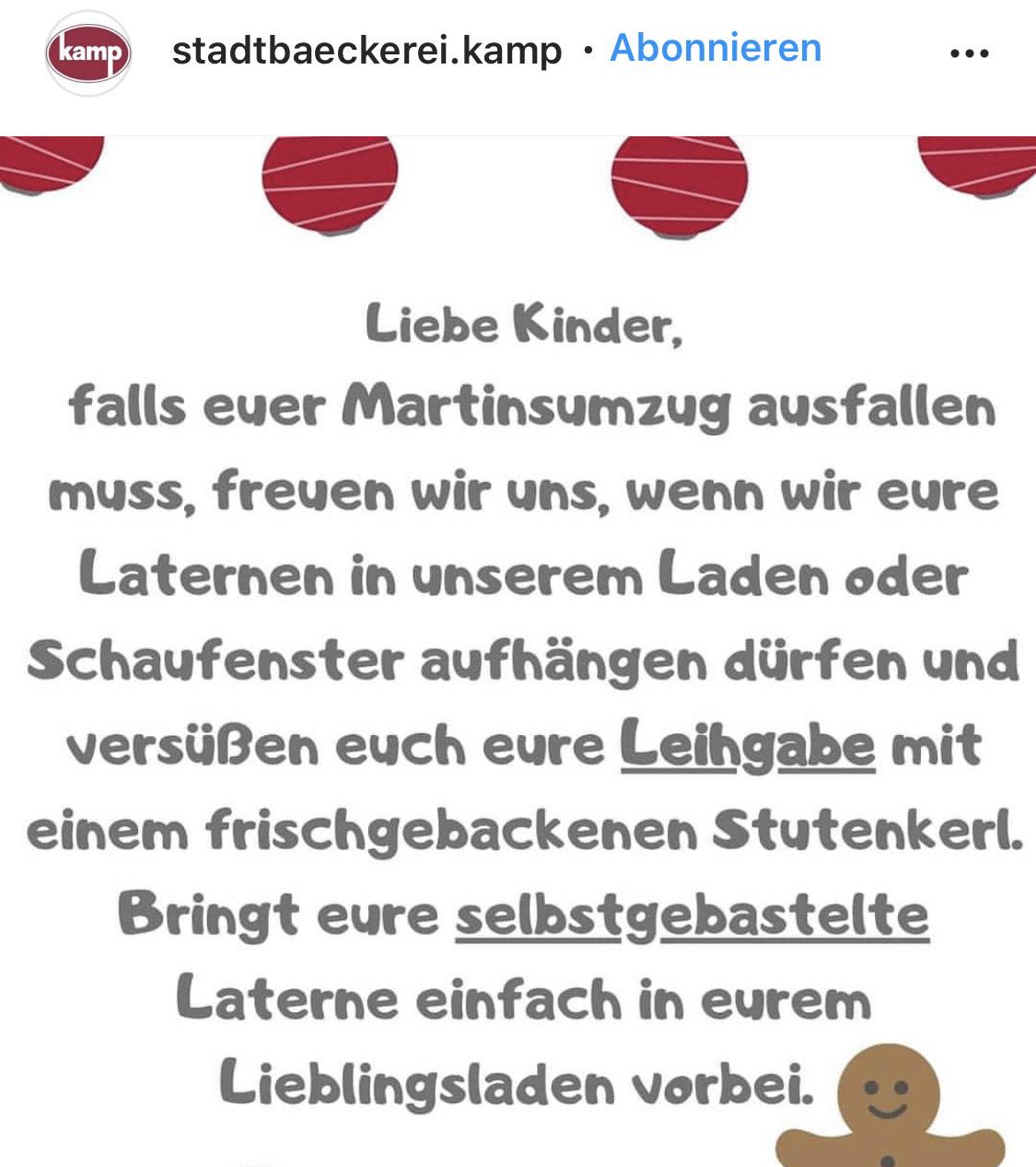 [Lokal Hagen Westfalen] Stadtbäckerei Kamp verschenkt Stutenkerl bzw Weckmann bei Leihgabe einer Martinslaterne [Gratis]