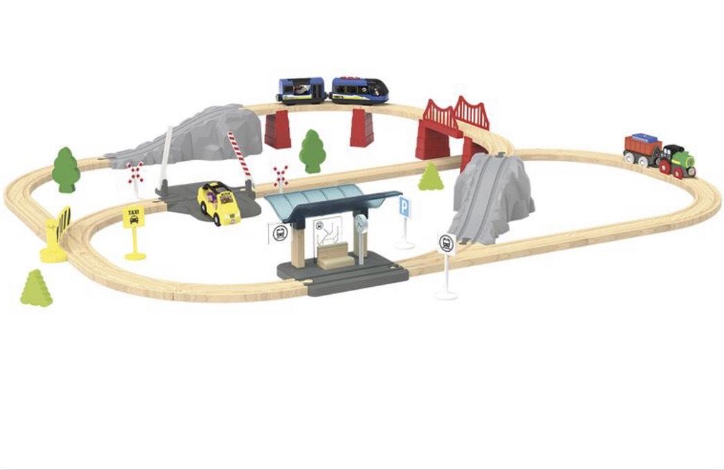 PLAYTIVE® JUNIOR Eisenbahn Kinder, 60-teilig, ab 3 Jahren