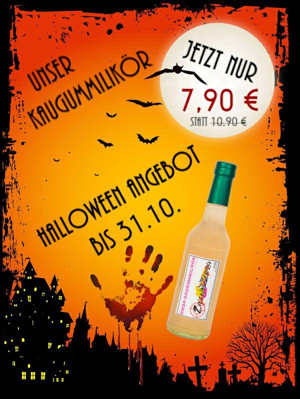 Viele Halloween Angebote bei Zielwasser24 z.B. Kaugummi Likör (-27%) oder Met und Vodka Mixgetränke reduziert, Alkohol und Schnaps