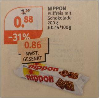 Nippon Puffreis-Schokolade 200 g für 86 Cent [Müller]