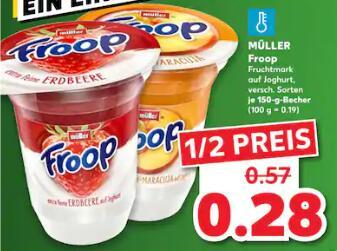 [Kaufland] Müller Froop für nur 28 Cent - verschiedene Sorten - 150 g Becher