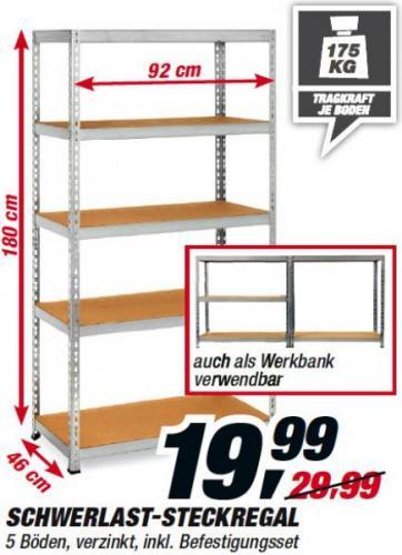 Toom Baumarkt (bundesweit): Schwerlast-Steckregal für nur 19,99 Euro