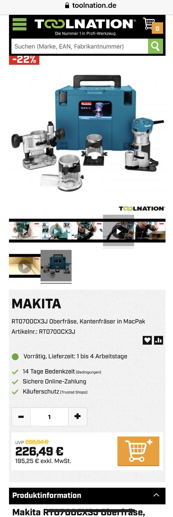 Makita RT0700CX3J Oberfräse, Kantenfräser in MacPak