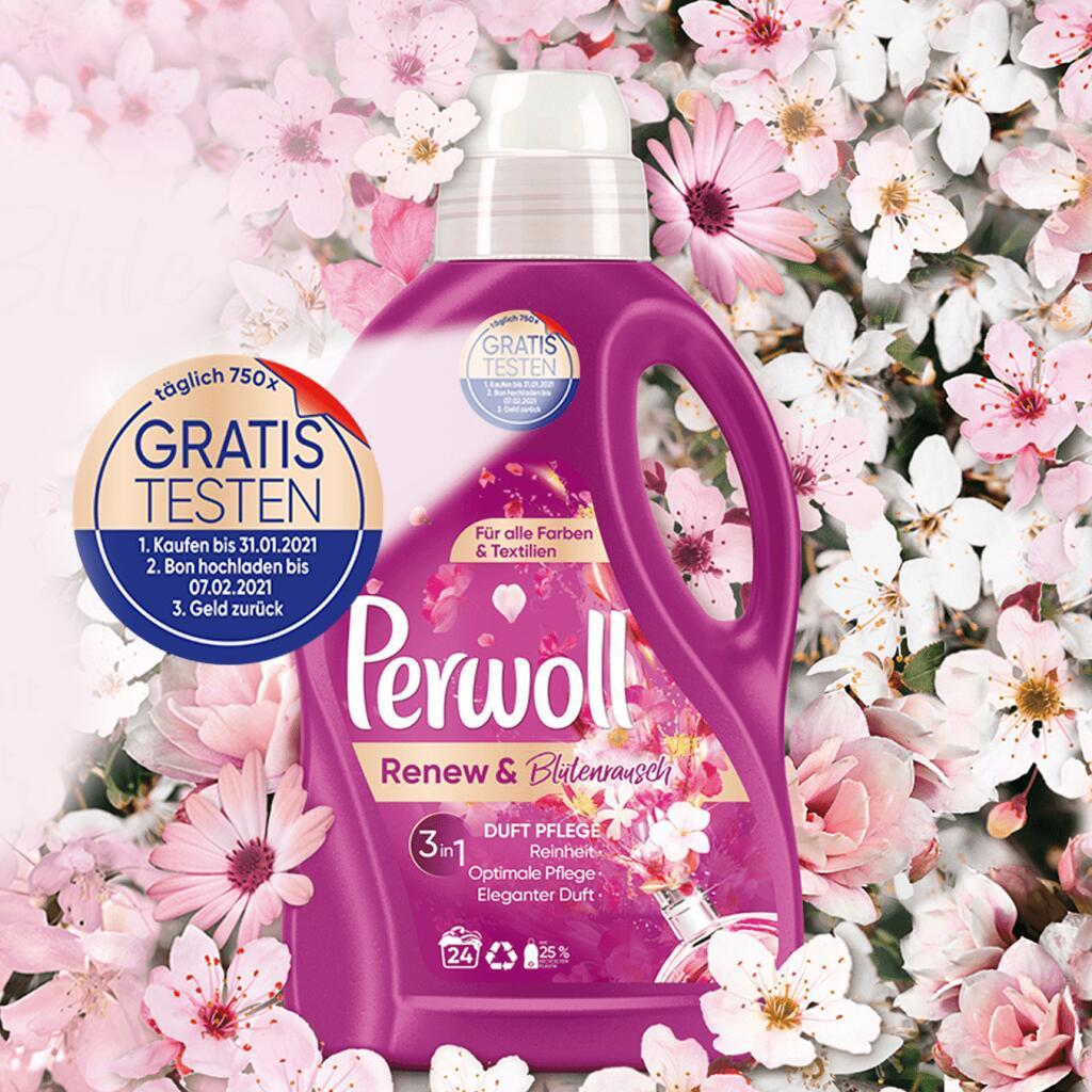 [GzG] GRATIS testen 100% Cashback auf Perwoll Renew & Blütenrausch 1,44/1,8L Spezialwaschmittel - bis 31.01.
