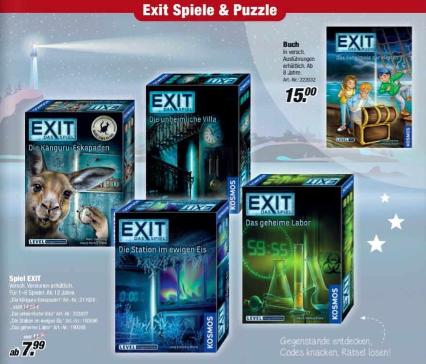 [ROFU deutschlandweit] EXIT - Das Spiel verschiedene Versionen für 7,99€