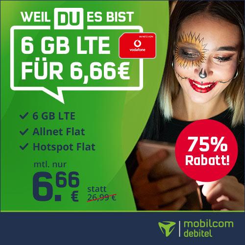 mobilcom-debitel Vodafone green LTE mit 6GB LTE (50 Mbit/s) + Allnet-Flat für mtl. 6,66€ [Vodafone-Netz, 24 Monate]