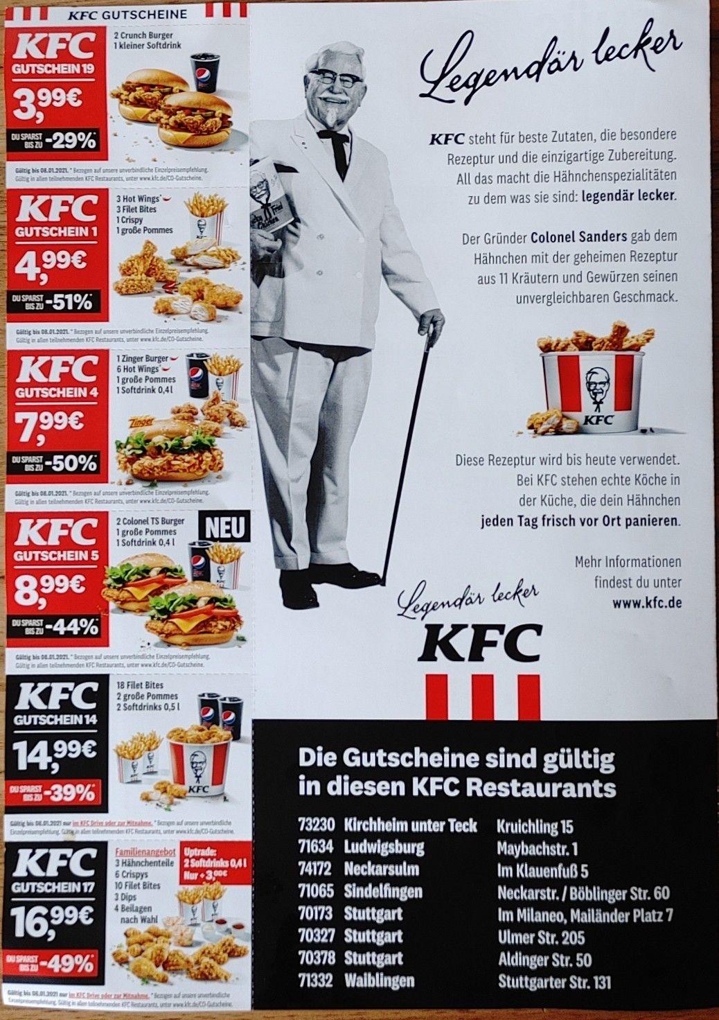 KFC Gutscheine lokal Stuttgart und Umgebung zusätzlich App-Angebote