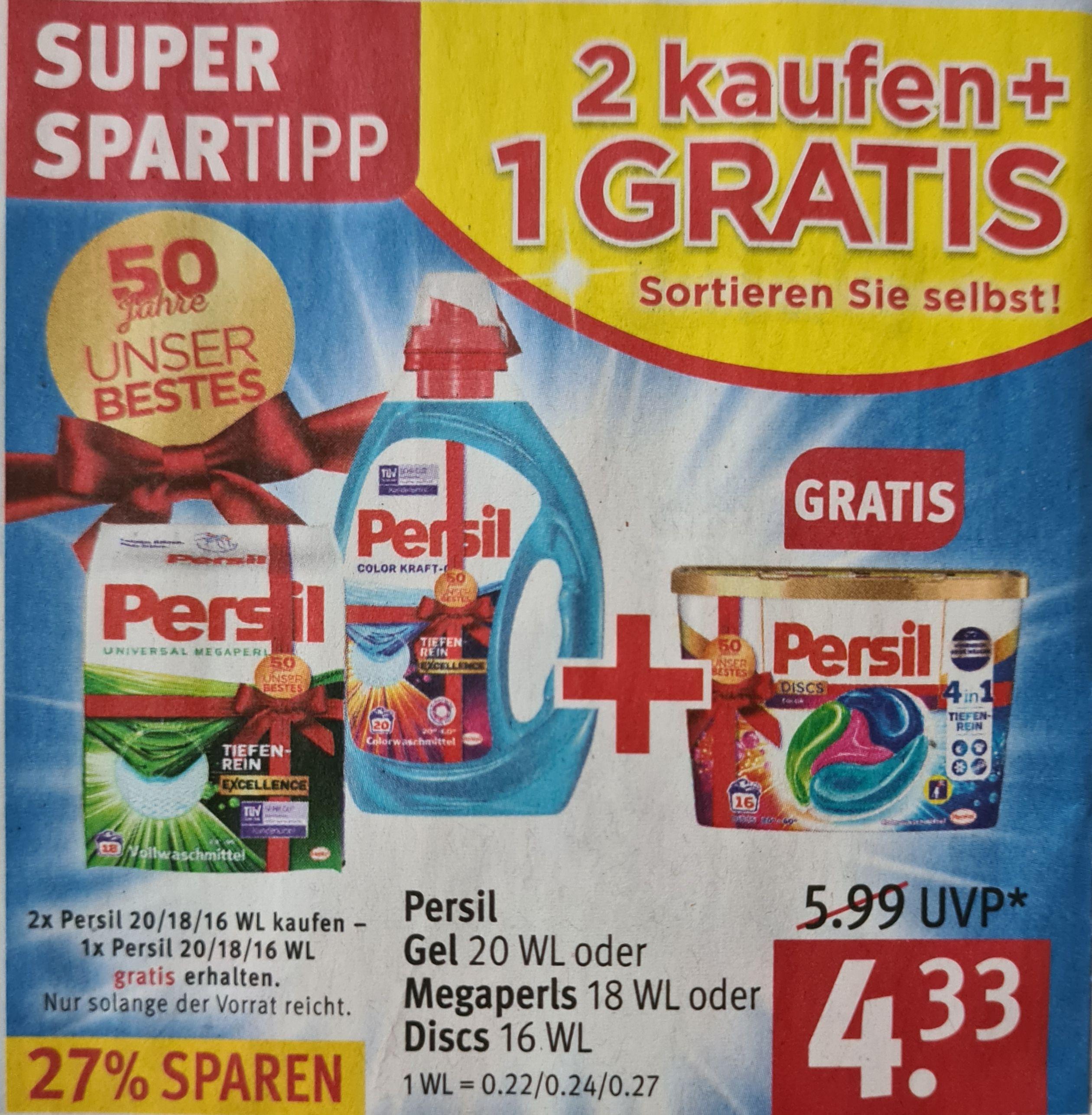 [ROSSMANN] 3x Persil Waschmittel 20WL, 18WL und/oder 16WL für 6€