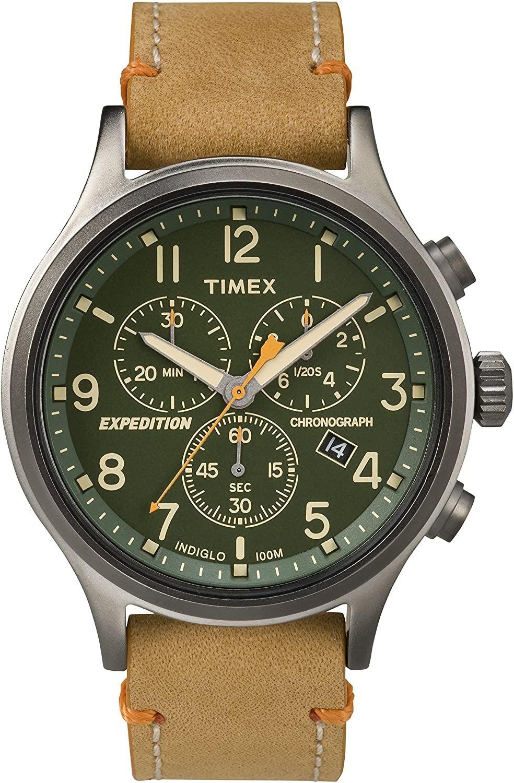 Timex Expedition Chronograph (42 mm Quarz-Uhr mit Leder-Armband, Datumsanzeige, Stoppfunktion, Indiglo Light, wasserfest bis 10 bar)