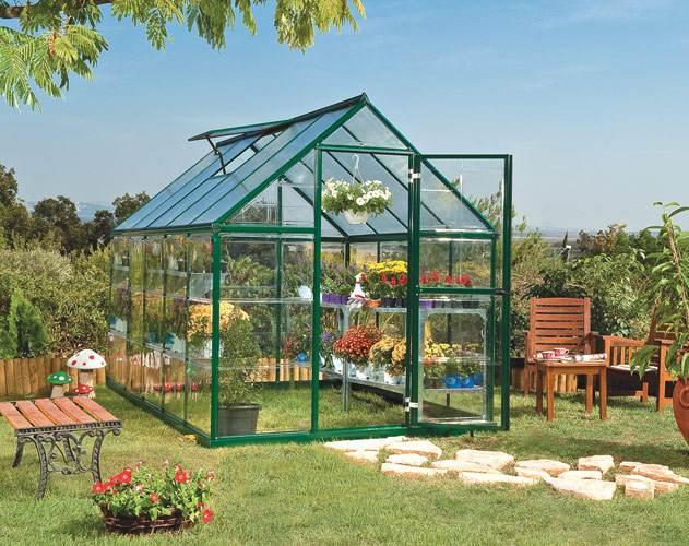 Palram Hybrid 6 x 10 grün Gewächshaus mit 5,7m² Grundfläche, 5 Jahre Garantie