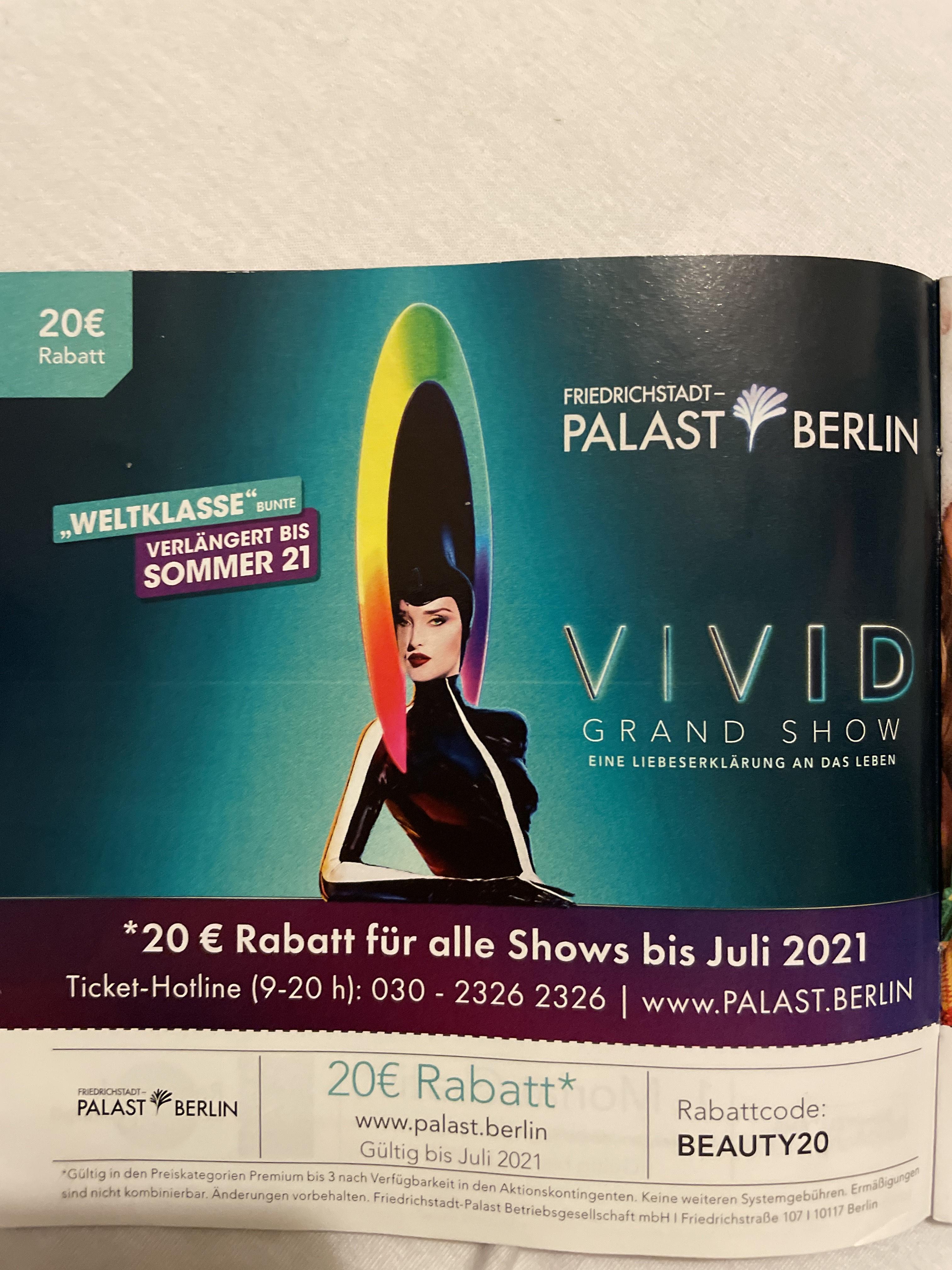 20€ Rabatt für alle Shows bis Juli 2021