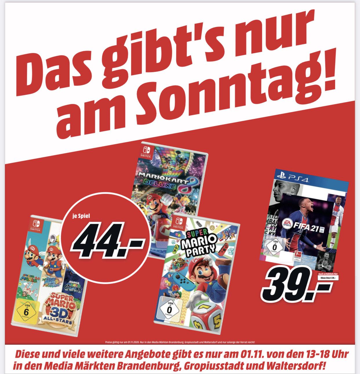 [Lokal Mediamarkt] Fifa 21 PS4, Xbox 39 Euro, Super MarioKart 8 Deluxe, Super Mario Party, Super Mario 3D Allstars 44 Euro Nintendo Switch