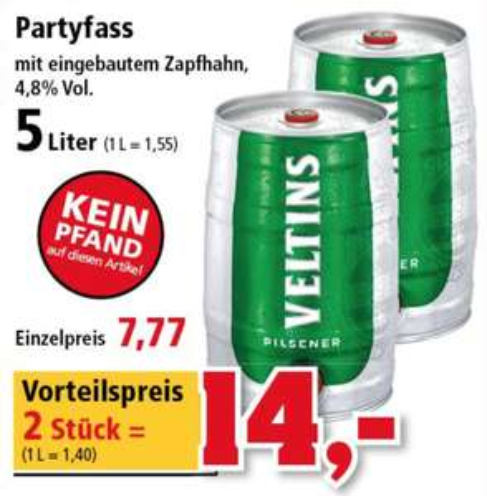 [THOMAS PHILIPPS] Veltins 5l Partyfass (2 x 5l)