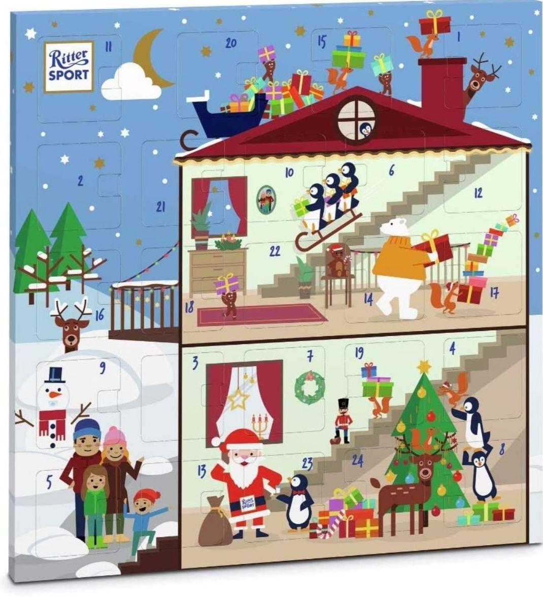 Ritter Sport Quadrat-Adventskalender (347 g), fröhlich-bunter Weihnachtskalender