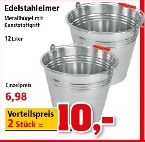 [ Thomas Philipps ] 2x Edelstahleimer mit 12L Fassungsvermögen zum Vorteilspreis