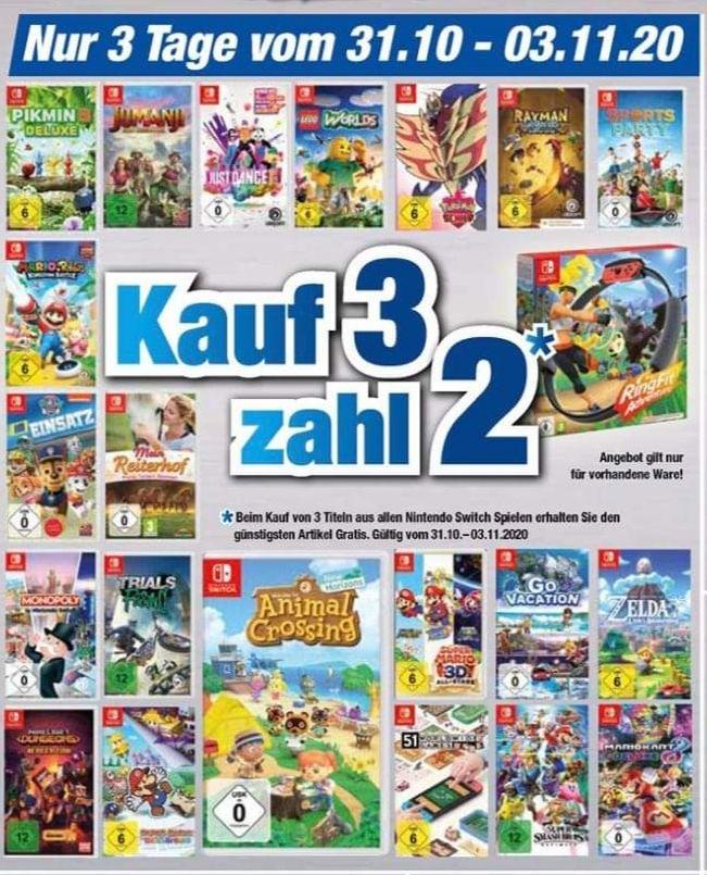 """[LOKAL][REGIONAL][OFFLINE] Expert Klein Nintendo Switch Spiele """"kauf 3, Zahl 2"""" Aktion auf alle verfügbaren Artikel. Auch Ring Fit Adventure"""