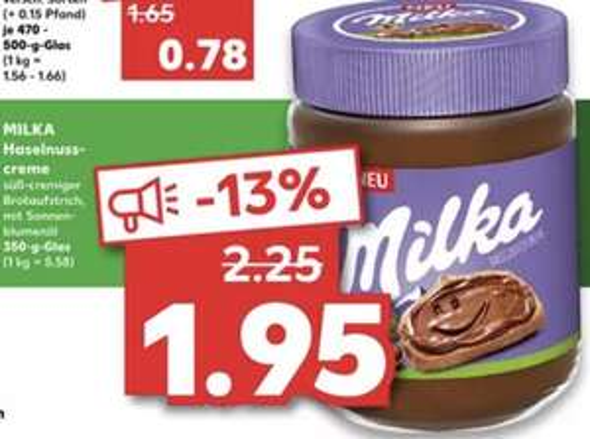 3x Milka Haselnusscreme je 350g Glas - ohne Palmöl (Stückpreis 1,28€) [Kaufland]