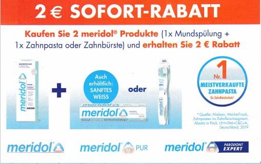 2€ Sofort-Rabatt beim Kauf von 2 Meridol Produkten (Mundspülung + Zahnpasta/-bürste) - gültig bis 31.01.2021