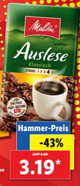 Lidl - Melitta Kaffee 3.19 statt 5.69€