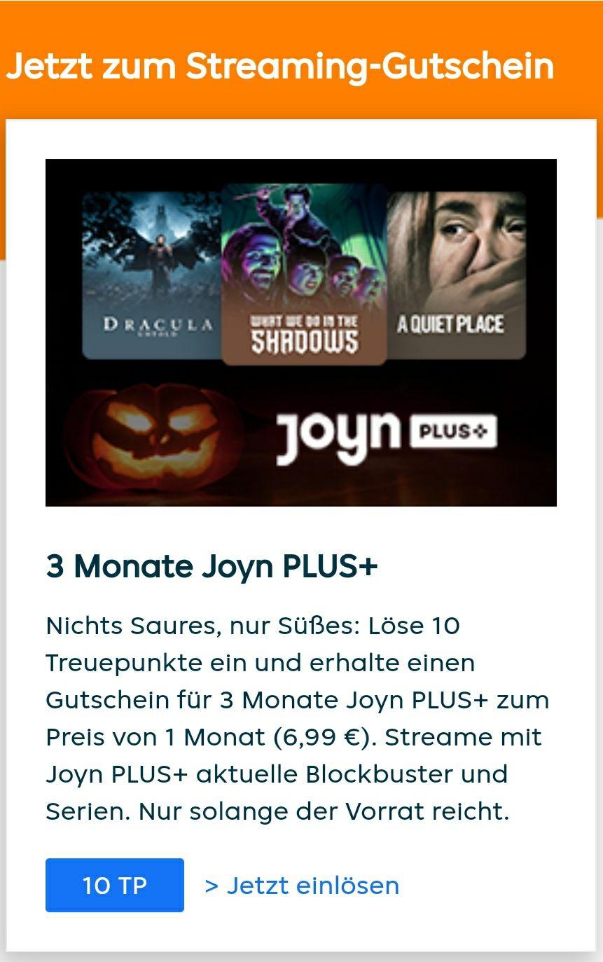 10 Treupunkte bei Lieferando gegen 3 Monate Joyn+ einlösen, einmalige Zuzahlung 6,99€, 4 Monate durch Probemonat möglich (monatlich kündbar)