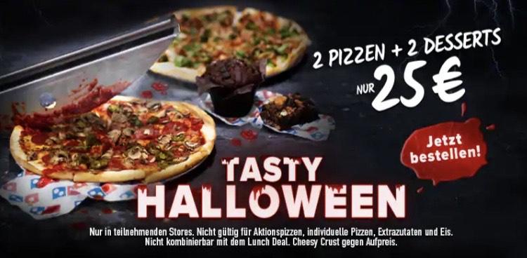 2 Pizzen und 2 Desserts für 25€ bei Dominos / Tasty Halloween