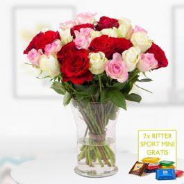 Gemischter Rosenstrauß (40cm) + 2 gratis Mini Schokis