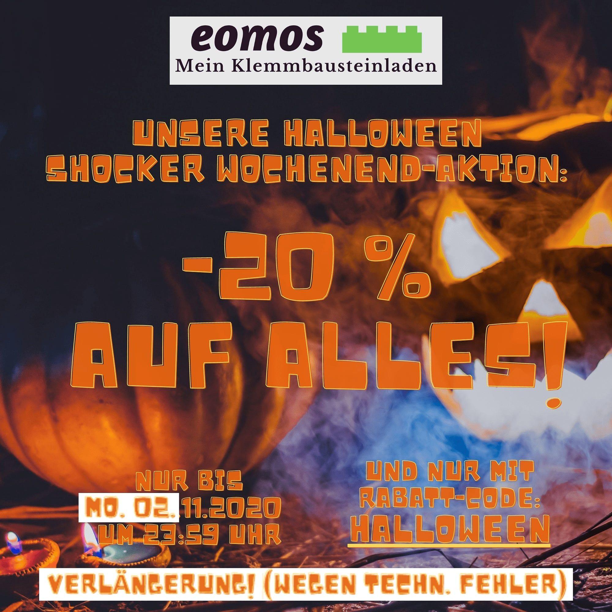 Verlängerung! 20% Rabatt am Halloween Shocker Wochenende bei eomos Mein Klemmbausteinladen