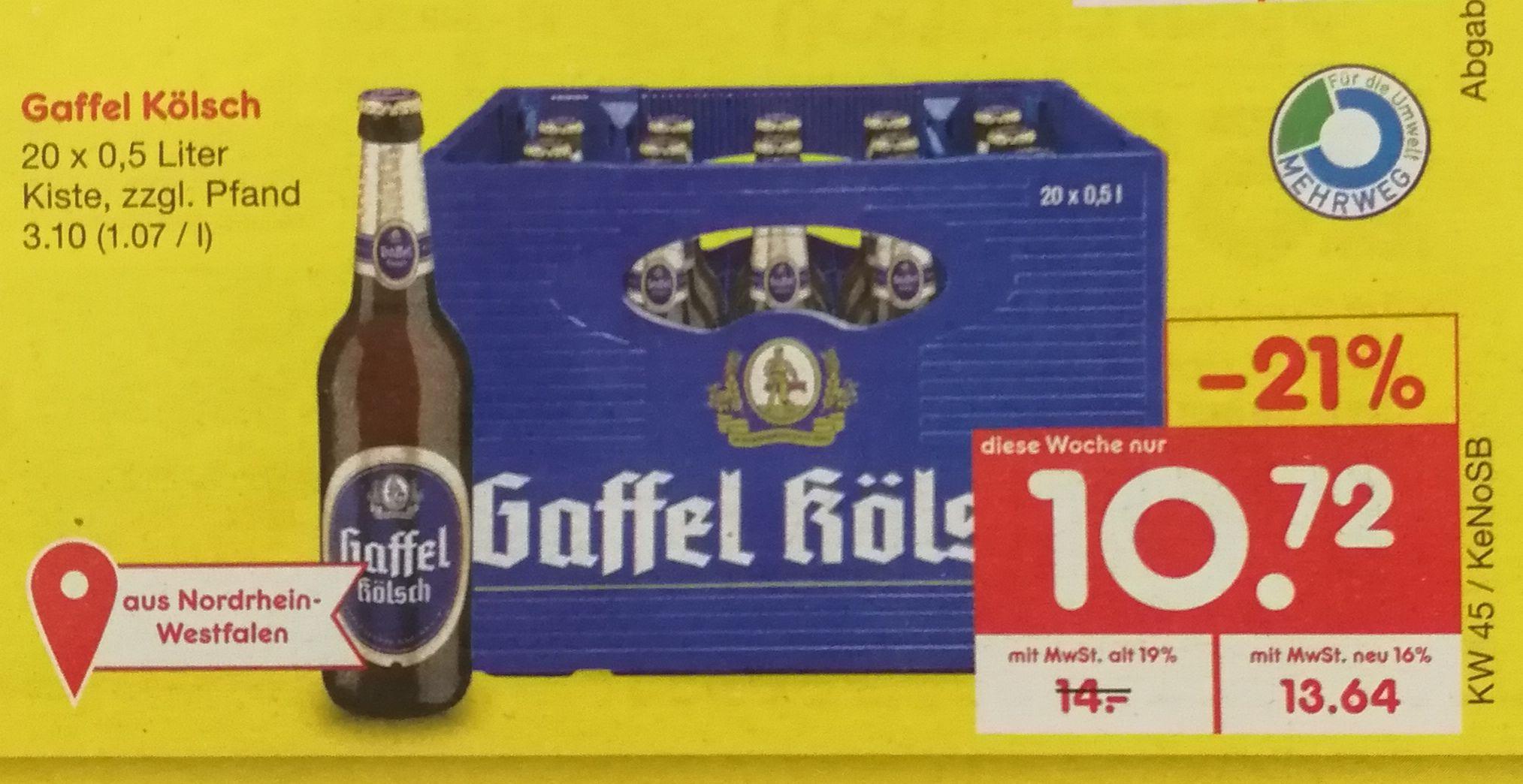 Netto - Kasten Gaffel Kölsch (20 x 0,5 l) - wohl NICHT bundesweit