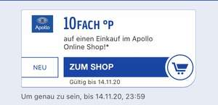 Payback App 10fach Apollo Optik Online Shop