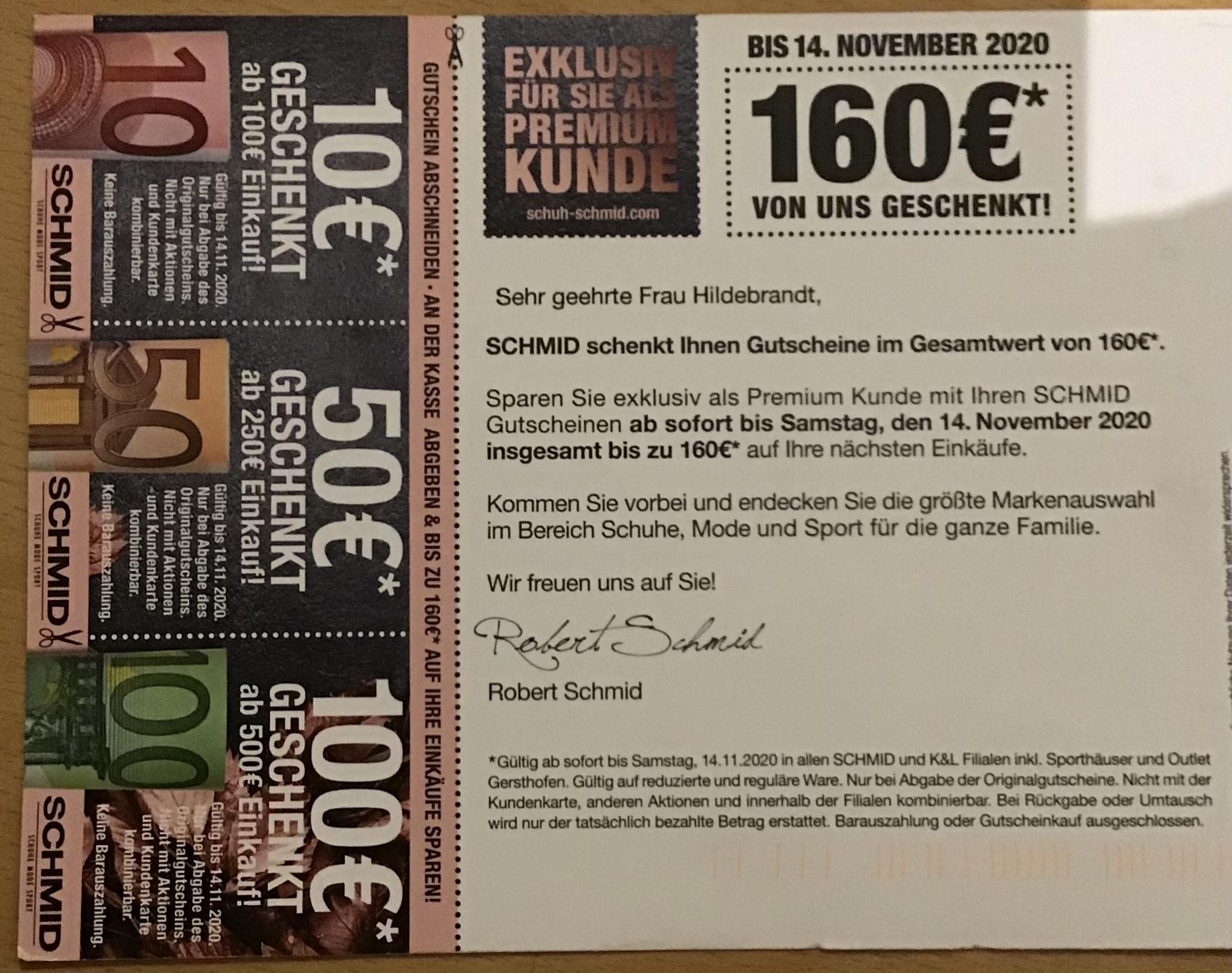 [lokal] Schmid und K&L min. 10€ Direktabzug bei Einkauf von min 100€