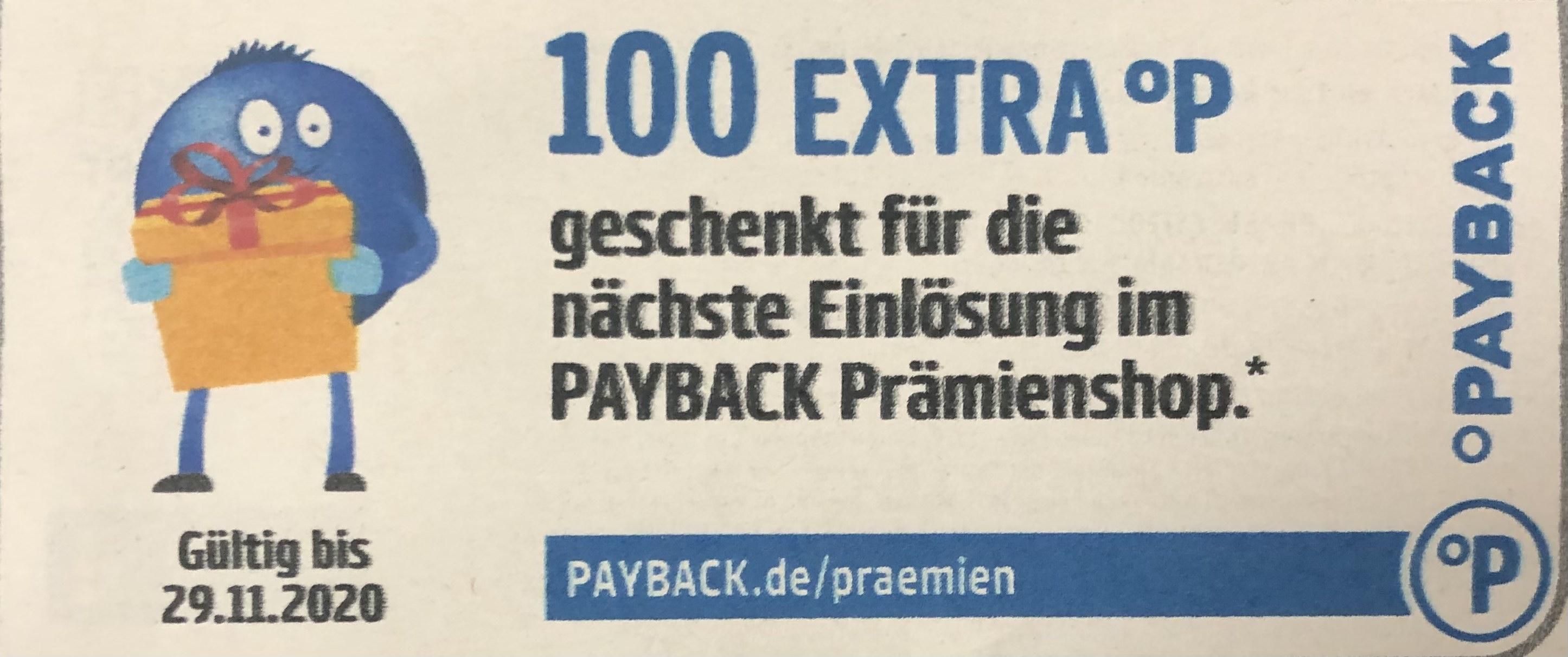 100 Extra Punkte geschenkt für die nächste einlösung im Payback Prämienshop (10€ MBW)