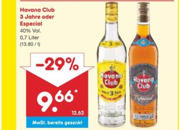 [Netto MD] Havana Club und Especial 0,7l für 9,66 EUR