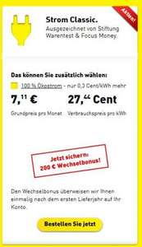 YelloStrom Classic - 200€ Wechelsbonus / ohne Mindestvertragslaufzeit - für wenig Verbraucher - neuer Link in Beschreibung