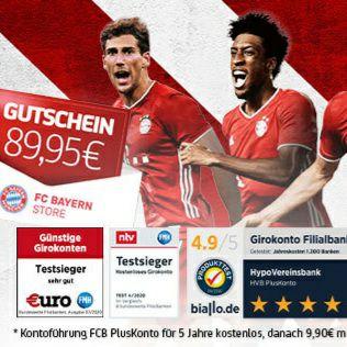 [Hypovereinsbank] FC Bayern München PlusKonto, Giro + KK 5Jahre ohne Gebühr + 60€ Shoop-CB + ggf. FCB Shop-GS 89,95€ bei 3xGeldeingang >500€