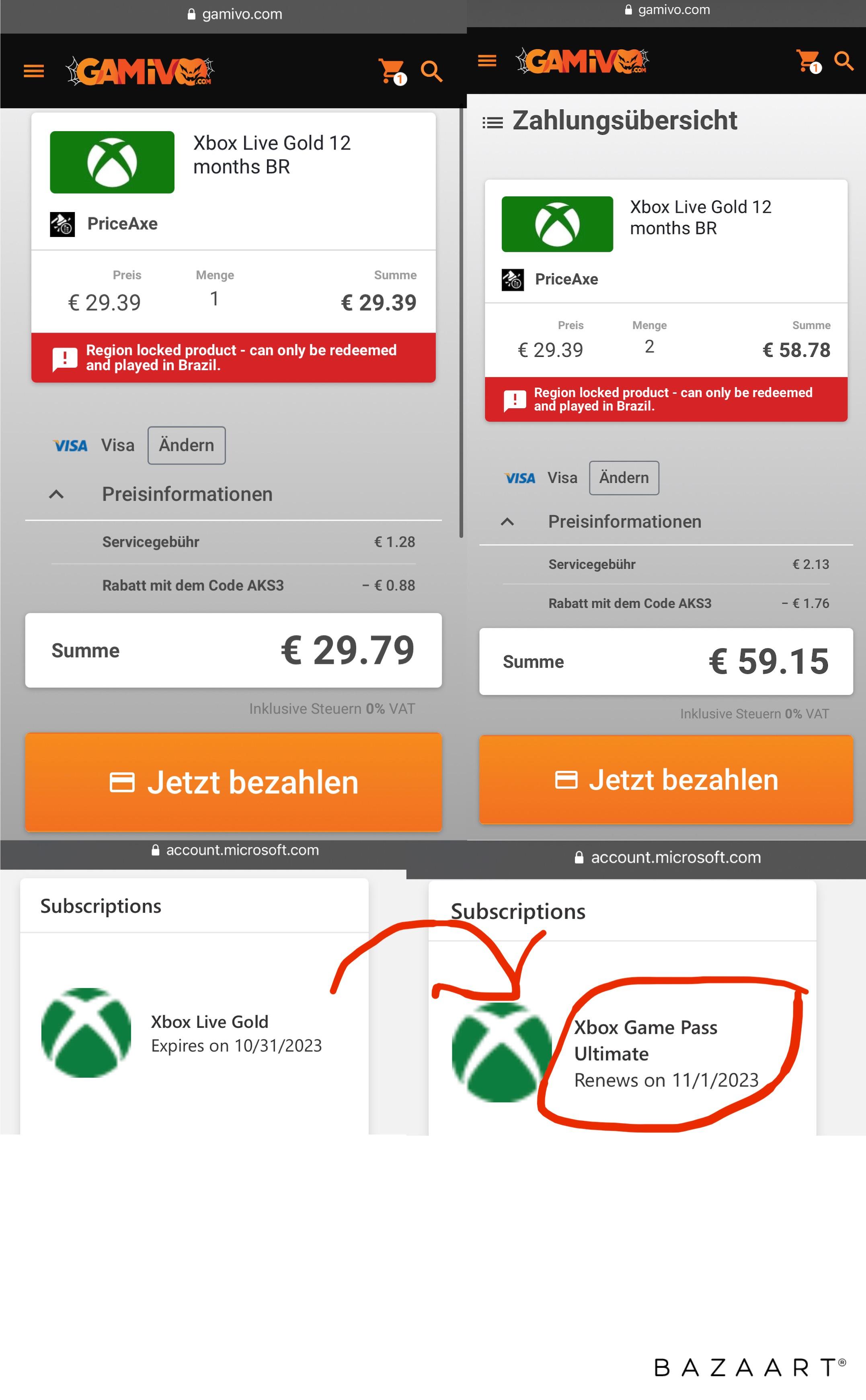 36 Monate Xbox Game Pass Ultimate für 100,65€ (VPN)