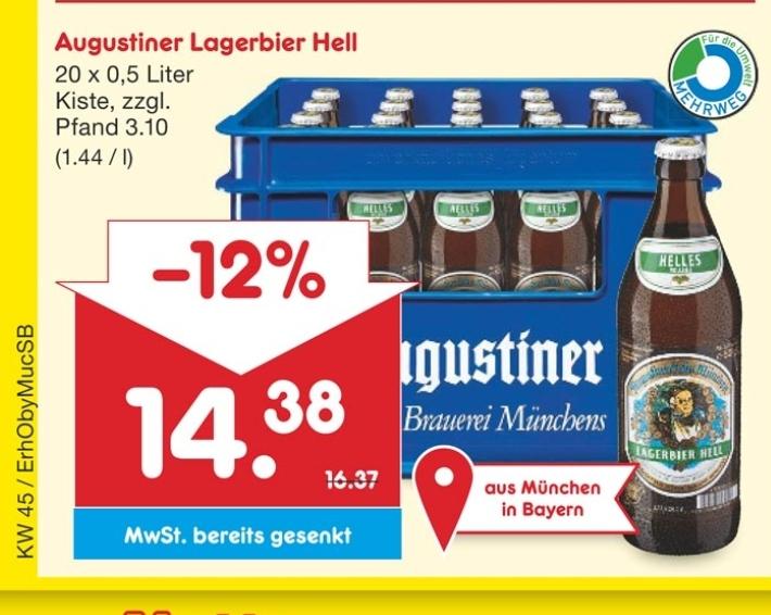 Kasten Augustiner Hell für 14,38 € @ Netto MD am 7.11. ( (Lokal Südbayern)