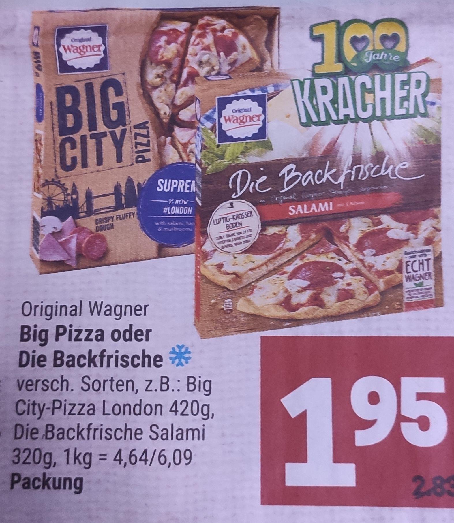 [Marktkauf Minden-Hannover] 2x Wagner Big Pizza oder Backfrische mit Coupon für 2,90€