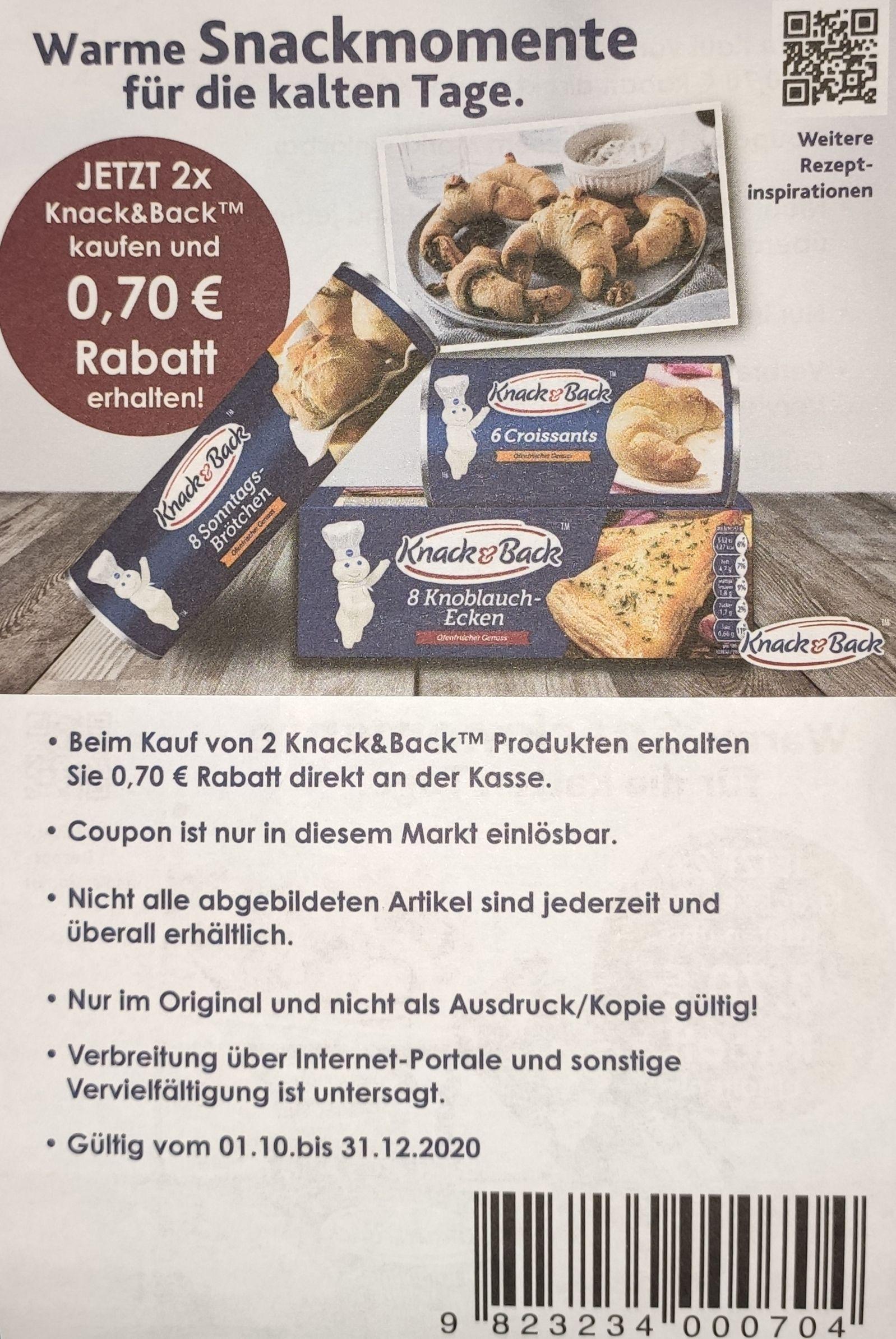2x Knack & Back Produkte kaufen und mit Coupon 0,70€ Rabatt erhalten