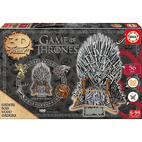 "(Amazon Prime) Educa Game Of Thrones 3D Holzpuzzle ""Eiserner Thron"", 56 Puzzleteile"