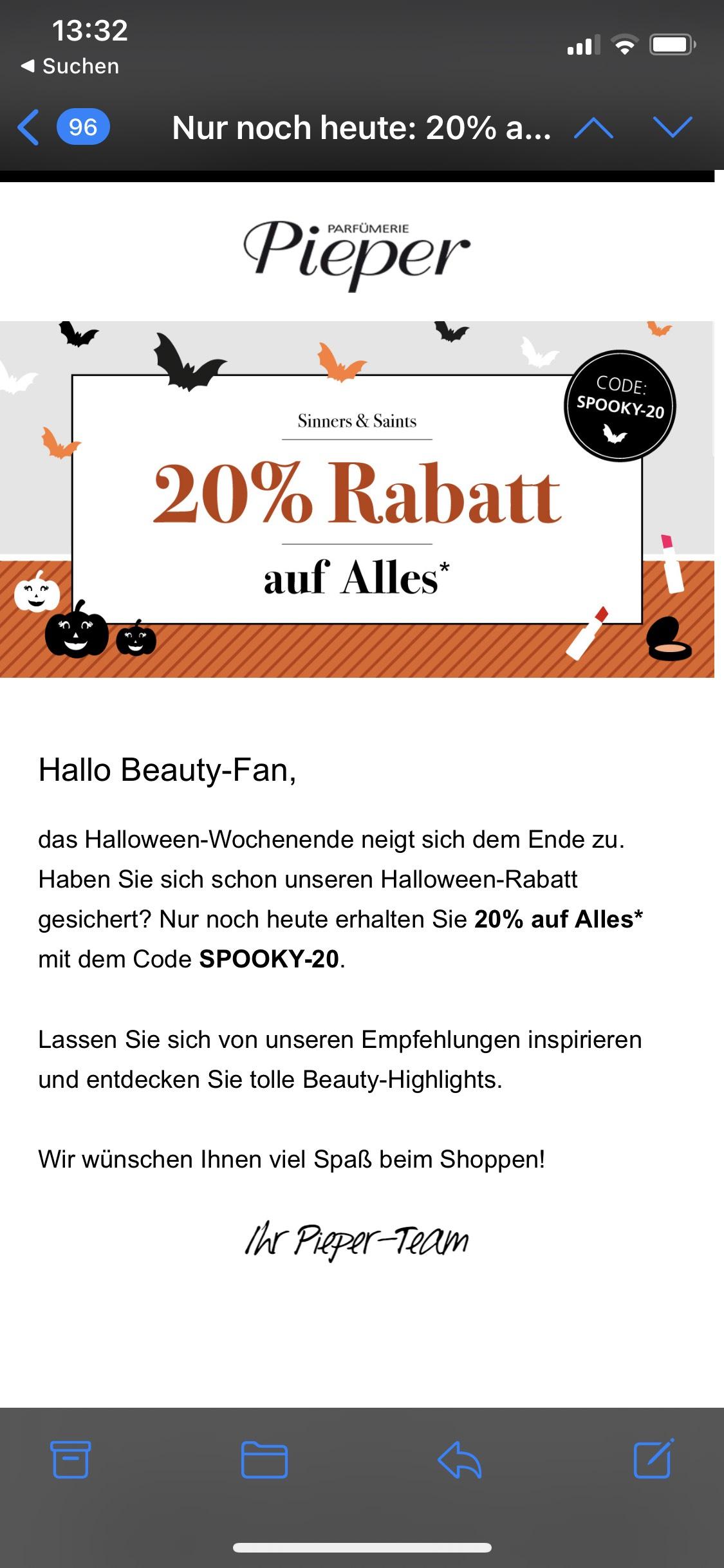 Parfümerie-Pieper 59€ MBW 20% auf nicht Sale Artikel