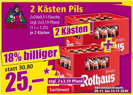 2 Kästen Rothaus Pils für 25 Euro (12,50 Euro/Kasten) [Norma Baden-W.], 1 Kasten Franziskaner Hefe-Weissbier für 10 Euro [Norma-Bayern]