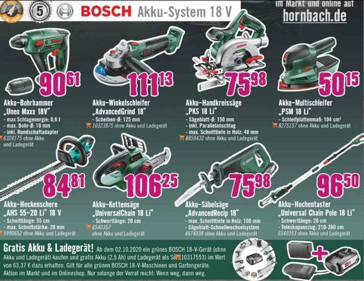 Bosch grün Werkzeuge kaufen & 18V gratis Akku und Ladegerät erhalten