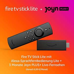 Amazon Fire TV Stick Lite 2020 (mit Alexa-Sprachfernbedienung) + 3 Monate Joyn PLUS+ für 19,49€ [Amazon / MediaMarkt & Saturn]