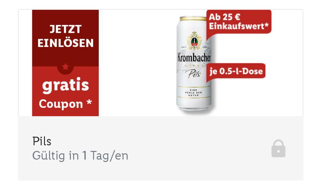Gratis Krombacher 0,5 Dose ab 25€ Einkauf @LidlPlus