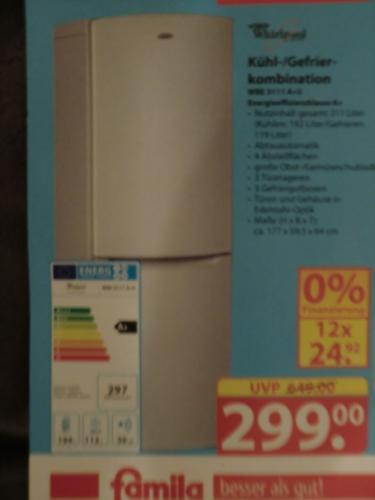 Whirlpool Kühl-/Gefrierkombination WBE 3111, EE A+, Edelstahloptik, Nutzinhalt 311 Liter --> Famila Löhne
