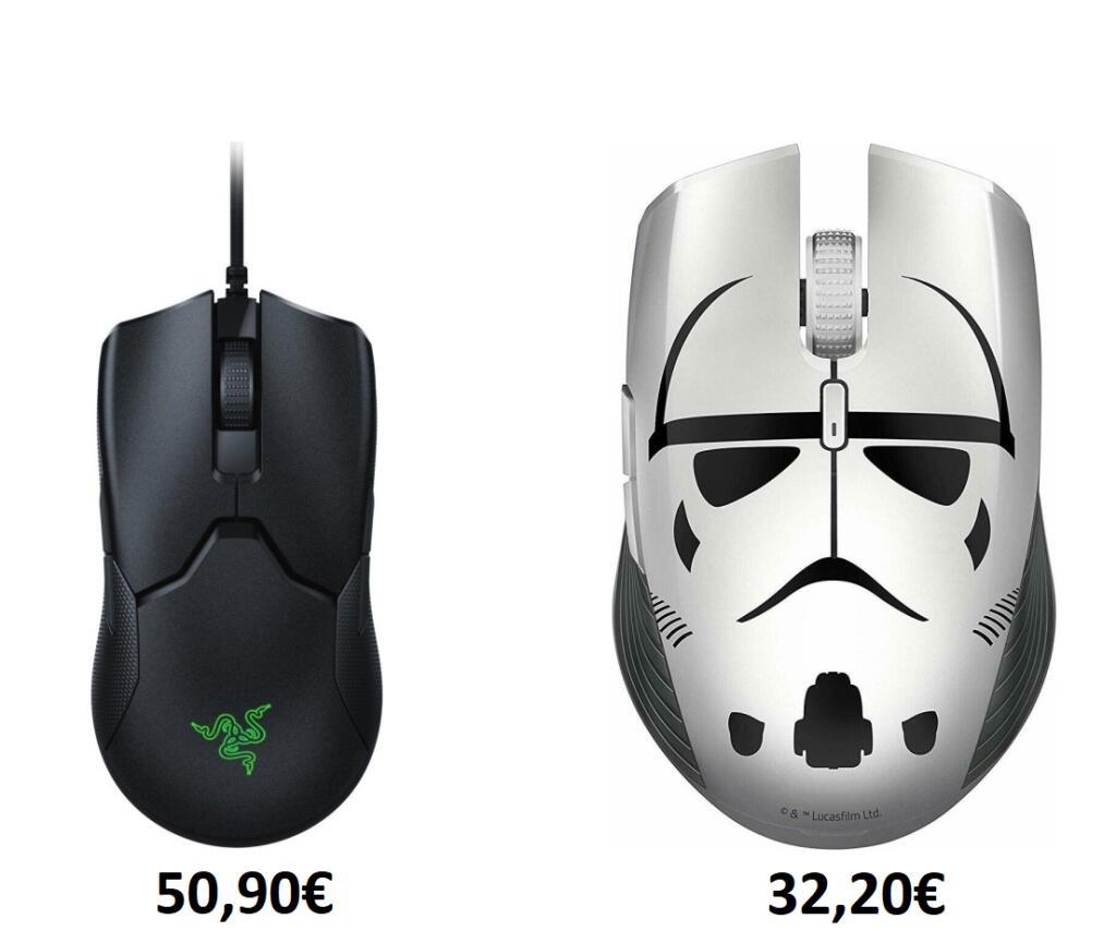 Razer Viper - Gaming Mouse (kabelgebunden, RGB, mechanisch-optische Taster, PixArt PMW3389) - 50,90€   Atheris Stormtrooper Edition - 32,20€