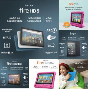 Amazon Fire HD 8 2020 - 53,50€ | Fire 7 Kids Edition - 53,60€ | Fire HD 8 Kids Edition - 77,96€ | Kindle Kids Edt - 58,47€ | Fire 7 - 39,13€
