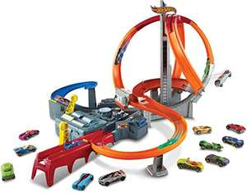 Hot Wheels CDL45 Action Mega Crash Superbahn, Trackset mit Loopings und Kurven