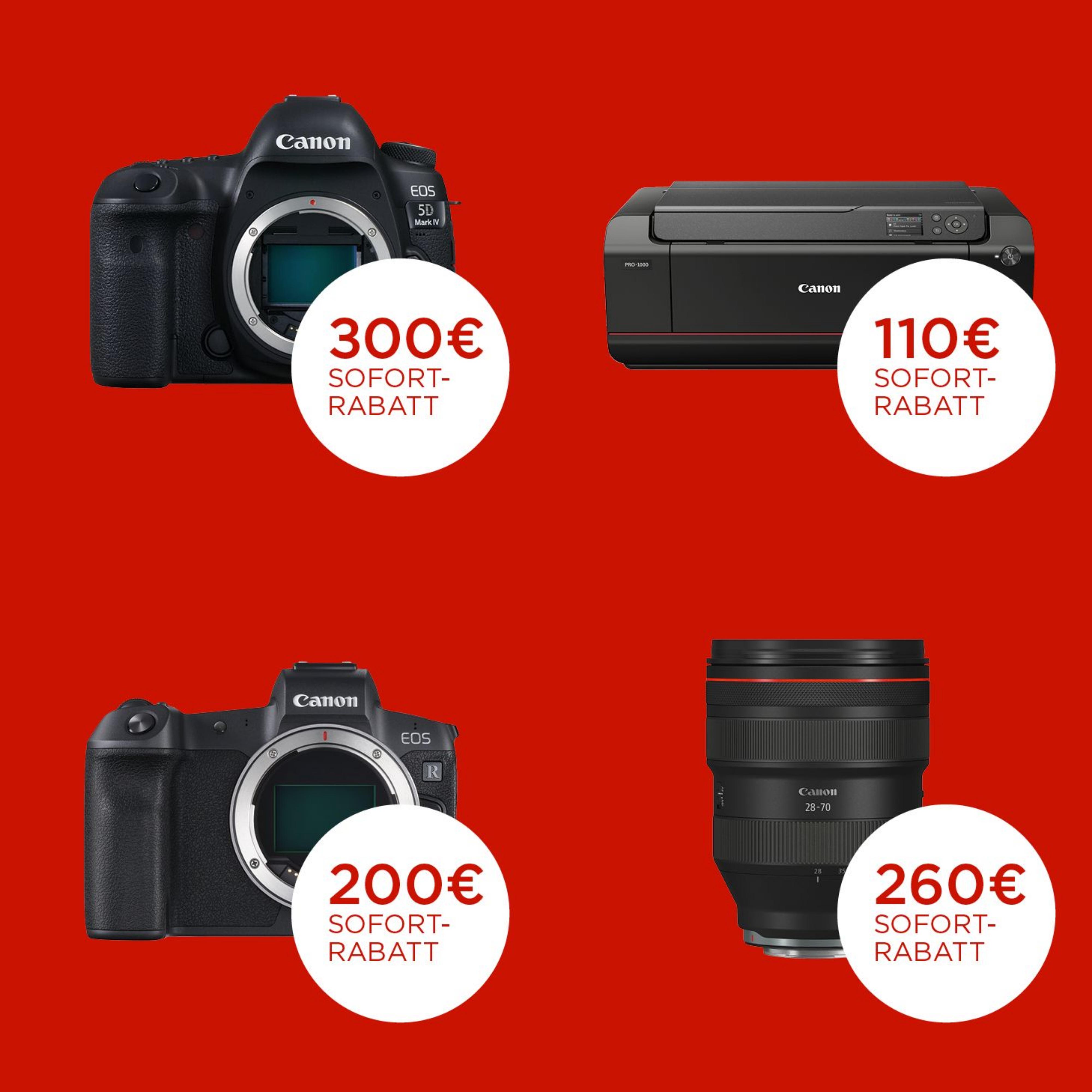 Canon Winter Sofort-Rabatt auf Kameras, Objektive & Drucker (bis zu 300€)
