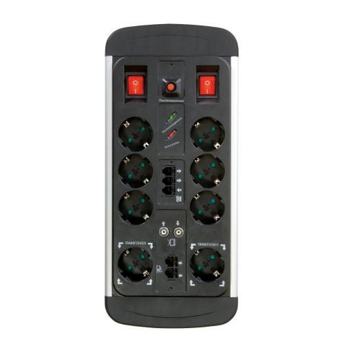 Vivanco EPLS 8ALU Professional Line 8fach Aluminium Steckdosenleiste mit Überspannungsschutz silber/schwarz